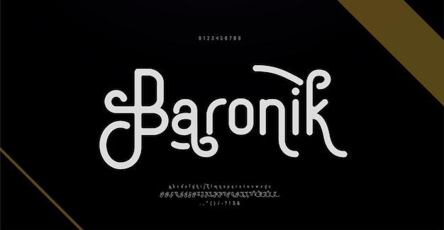 Elegante fuente de letras del alfabeto y número. diseños clásicos de moda minimalista. tipografía retro vintage