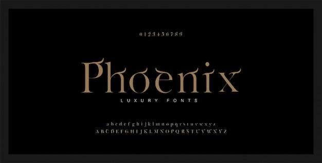 Elegante fuente serif alfabeto y número.