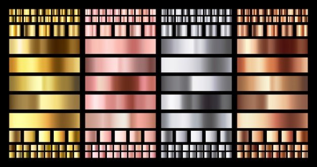 Elegante gradiente metálico. brillantes medallas de oro rosa, plata y bronce gradientes. colección de oro, cobre rosa y metal cromado