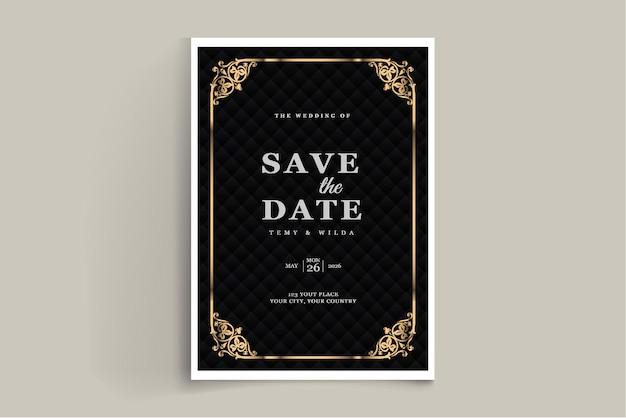 Elegante guardar la plantilla de tarjeta de invitación de boda de fecha