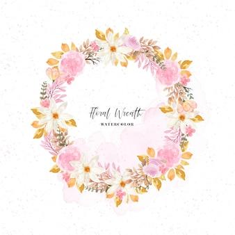 Elegante guirnalda floral otoñal con fondo de acuarela abstracta