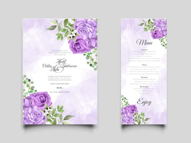 Elegante y hermosa plantilla de invitación de boda con rosas moradas dibujadas a mano
