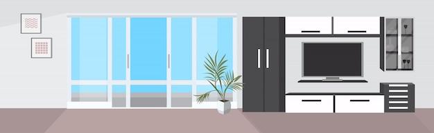 Elegante hogar moderno salón interior vacío nadie apartamento con muebles y ventana panorámica plana horizontal
