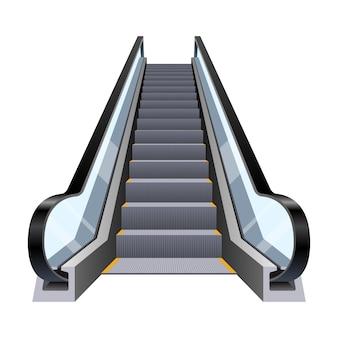 Elegante ilustración de diseño de escalera mecánica aislada sobre fondo blanco