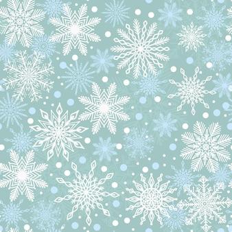 Elegante invierno azul de patrones sin fisuras varios iconos de copo de nieve hermoso diseño de navidad año nuevo