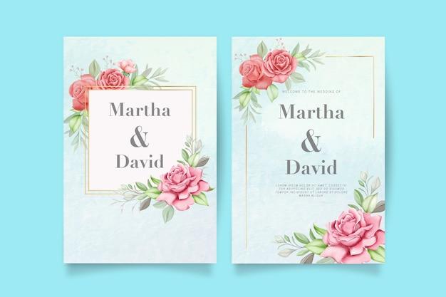Elegante invitación de boda en acuarela con flores y hojas.