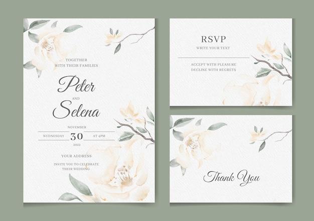 Elegante invitación de boda en acuarela con hermosas flores y hojas pintadas con lavado vector premium
