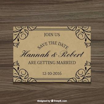 Elegante invitación de boda en estilo rústico