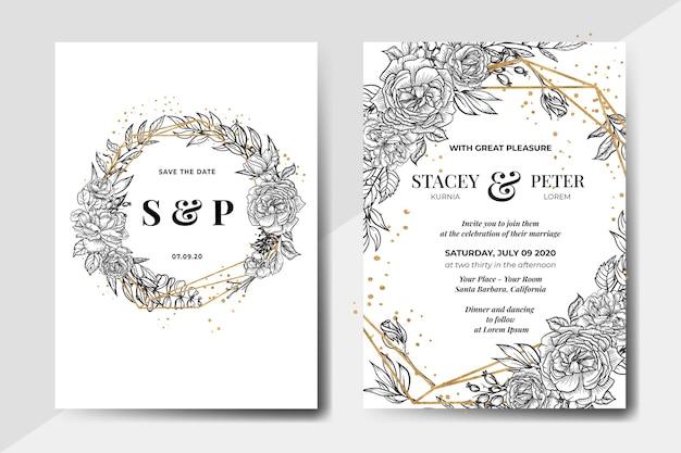 Elegante invitación de boda flor rosa dibujada a mano