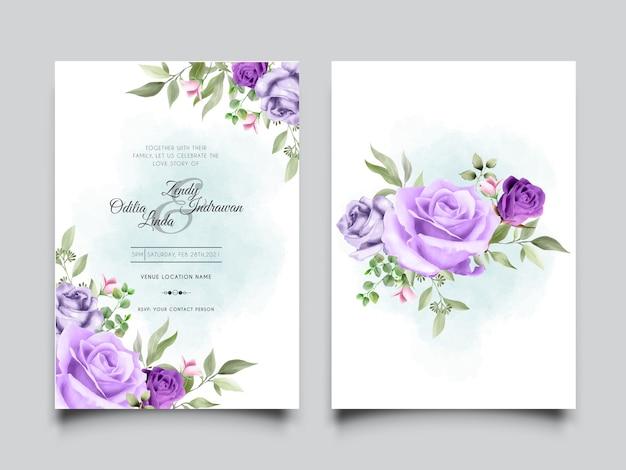 Elegante invitación de boda con un hermoso diseño de rosa púrpura