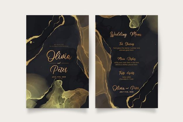 Elegante invitación de boda negra y dorada y plantilla de menú