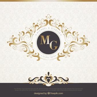 Elegante invitación de boda negra y dorada