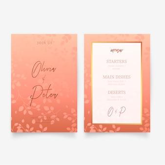 Elegante invitación de boda y plantilla de menú