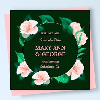 Elegante invitación de boda con rosas realistas.