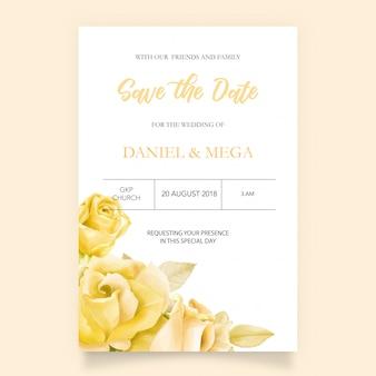 Elegante invitación de boda con acuarela floral