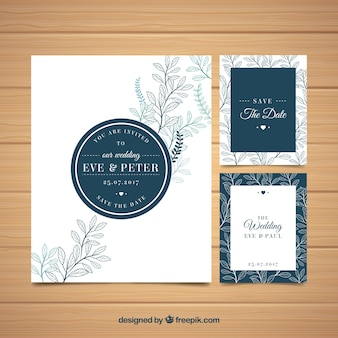 Elegante invitación de boda con bocetos de hojas