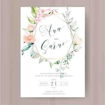 Elegante invitación floral con marco de flores acuarela.