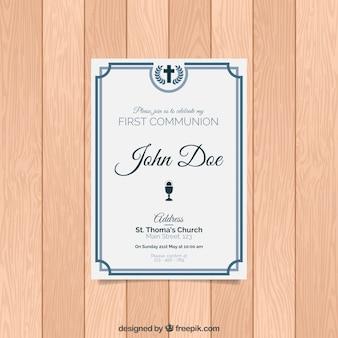 Elegante invitación de primera comunión