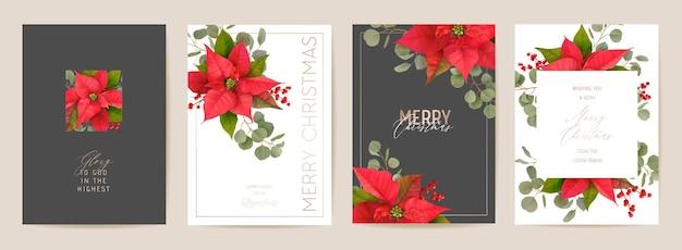 Elegante juego de tarjetas de feliz navidad y año nuevo con flores realistas de poinsettia, muérdago. ilustración de diseño de plantas 3d de invierno para saludos, invitación, volante, folleto, portada en vector