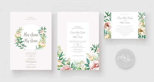 Elegante juego de tarjetas de invitación de boda de eucalipto