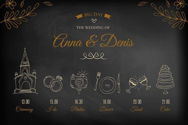 Elegante línea de tiempo de boda dibujada a mano