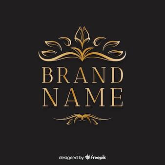 Elegante logo ornamental con hojas