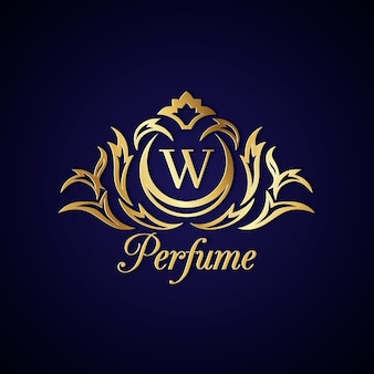 Elegante logo de perfume con diseño dorado