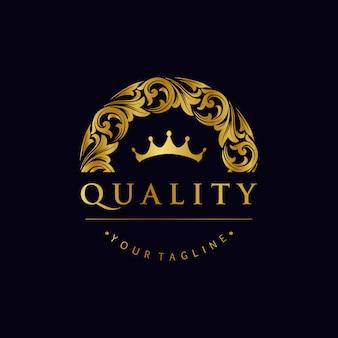 Elegante logotipo de adornos dorados con corona