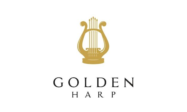 Elegante logotipo de arpa de lujo