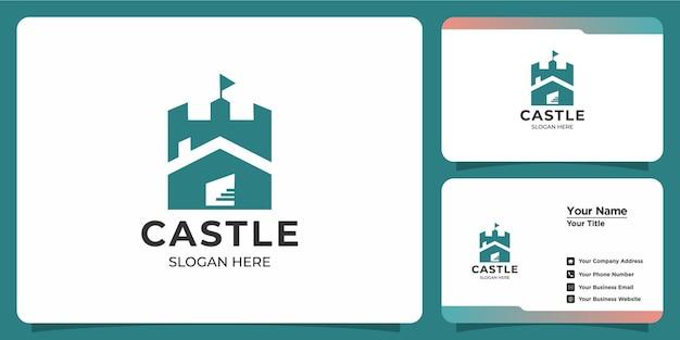 Elegante logotipo de castillo minimalista con marca de tarjeta de visita
