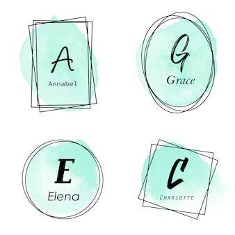 Elegante logotipo de marco de acuarela verde con inicial