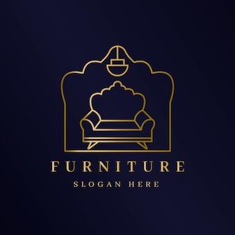 Elegante logotipo de muebles dorados