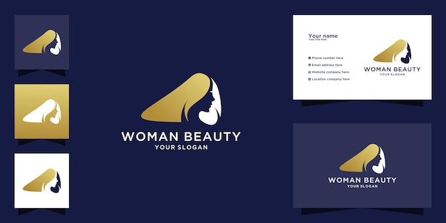 Elegante logotipo de mujer de belleza y tarjeta de visita.
