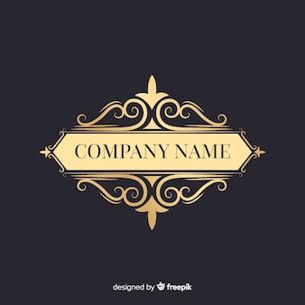 Elegante logotipo ornamental con el nombre de la empresa.