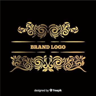 Elegante logotipo ornamental con rayas grandes