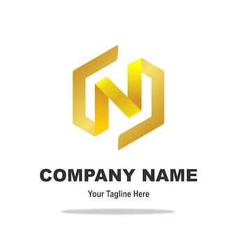 Elegante logotipo de oro n letra