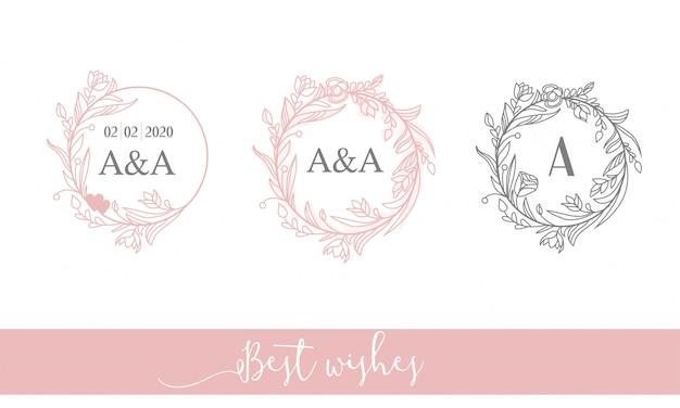 Elegante logotipo redondo femenino. marco de flores, iniciales. arte lineal.
