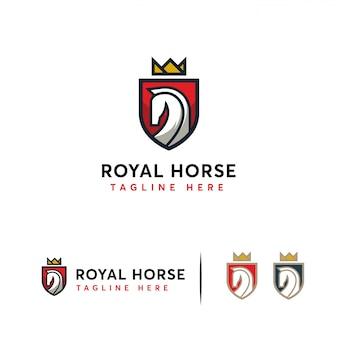 Elegante logotipo de royal horse s, logotipo de escudo de caballo