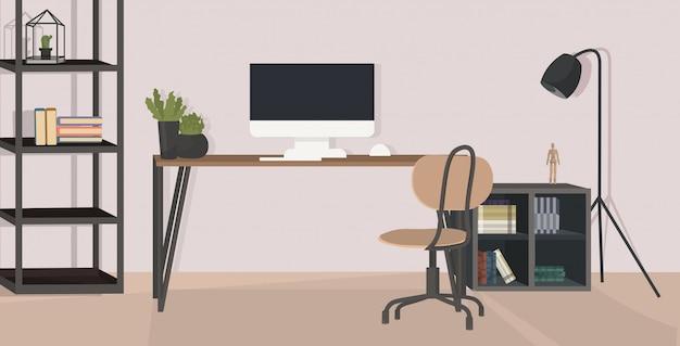 Elegante lugar de trabajo con monitor de la computadora en la oficina moderna interior del gabinete vacío sin sala de personas con muebles planos horizontales