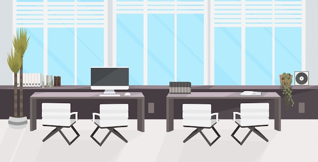 Elegante lugar de trabajo con ordenador portátil moderno interior de gabinete de oficina vacío nadie espacio de trabajo con muebles planos horizontales