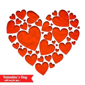 Elegante luz romántica con corazones rojos de papel arrugado aislado ilustración vectorial