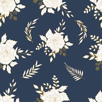 Elegante mano dibujada floral de patrones sin fisuras