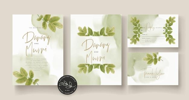 Elegante mano dibujo invitación de boda floral