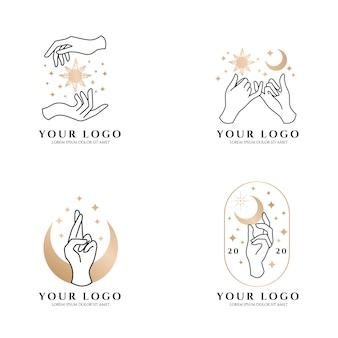 Elegante mano femenino logo tema de lujo