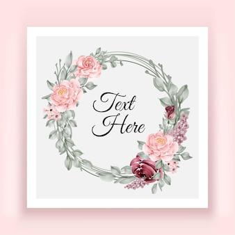 Elegante marco de corona de hojas de flor rosa burdeos y rosa