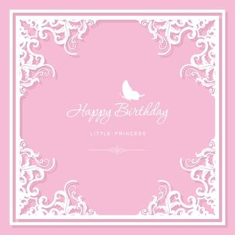 Elegante marco decorativo. plantilla de tarjeta de felicitación de cumpleaños.