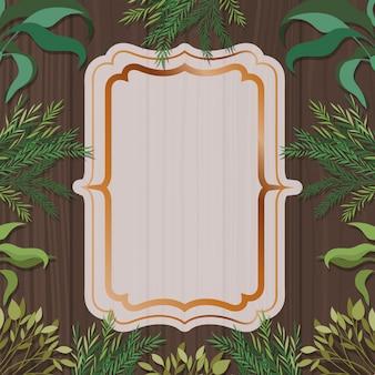Elegante marco dorado con fondo de hierbas y madera.