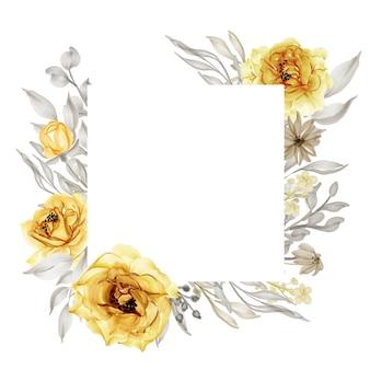 Elegante marco de flor rosa amarilla dorada acuarela