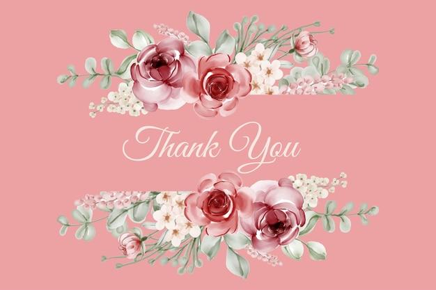 Elegante marco floral acuarela rosa
