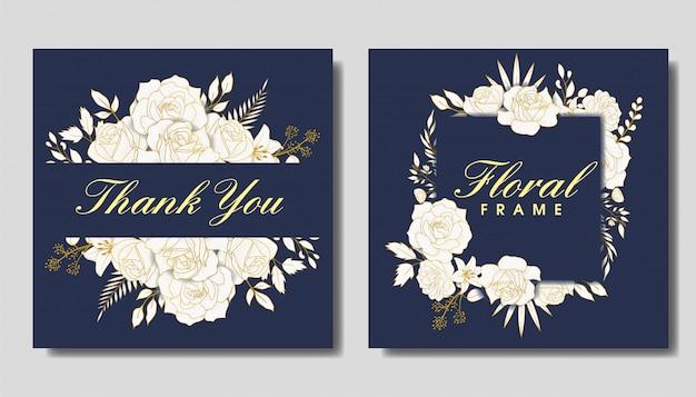 Elegante marco floral dibujado a mano